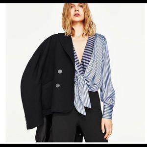 Striped silk wrap bodysuit